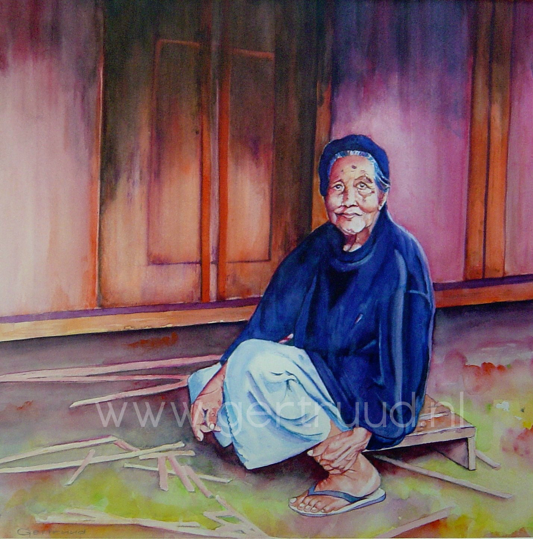 Oude vrouw op Bali watermerk