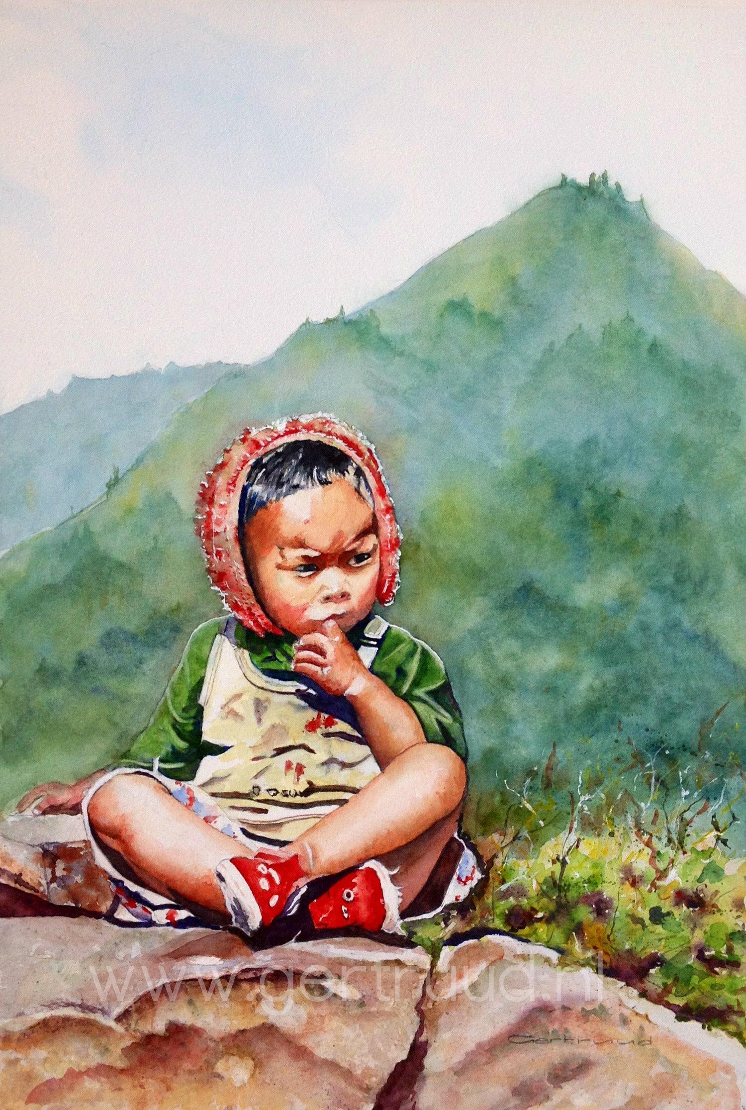 Nepalees jongetje watermerk