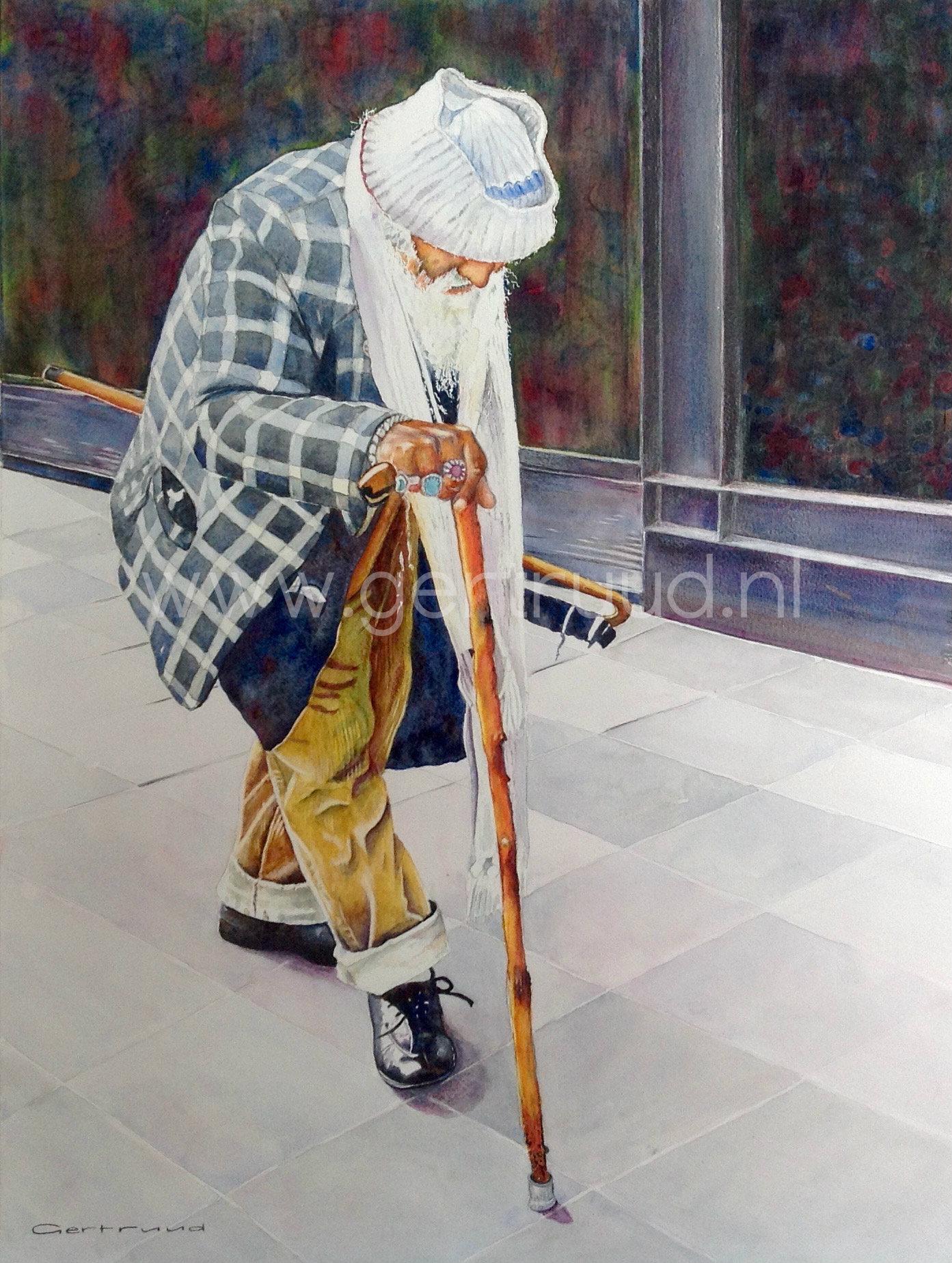 Oude man in Istanbul watermerk